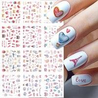 Adhesivos para uñas con forma de corazón de San Valentín, calcomanía artística rosa, unicornio, Cupido de amor, manicura, deslizador de agua, ornamento para uñas, BEBN1705-1716, 12 Uds.