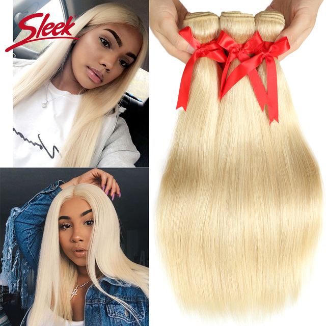 Sleek Brazilian Straight Hair Blonde 613 Color Weave Bundles 8 To 26 Inches  Remy Human Hair Extension Can Buy 3 or 4 Free Ship
