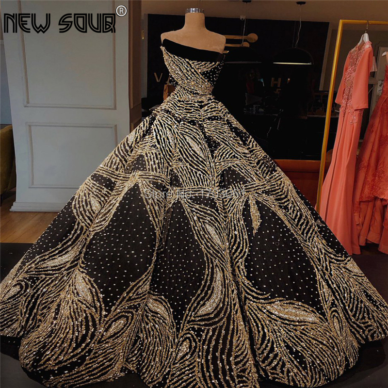 Strapless Formal   Evening     Dresses   Elegant Celebrity Ball Gown Dubai Prom   Dress   New Saudi Arabic Puffy Party Gown Robe De Soiree