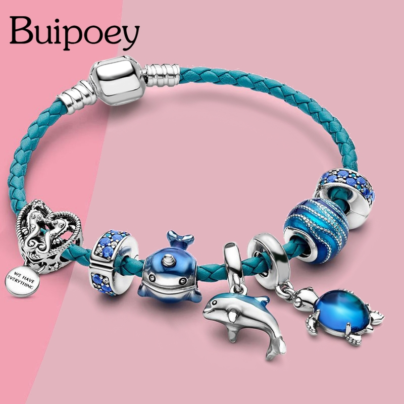 Buipoey Ocean Collection Blue Turtle Seahorse Narwhal Beaded Dolphin Charm Bracelets For Boys Girl Original Kids Child Bracelet