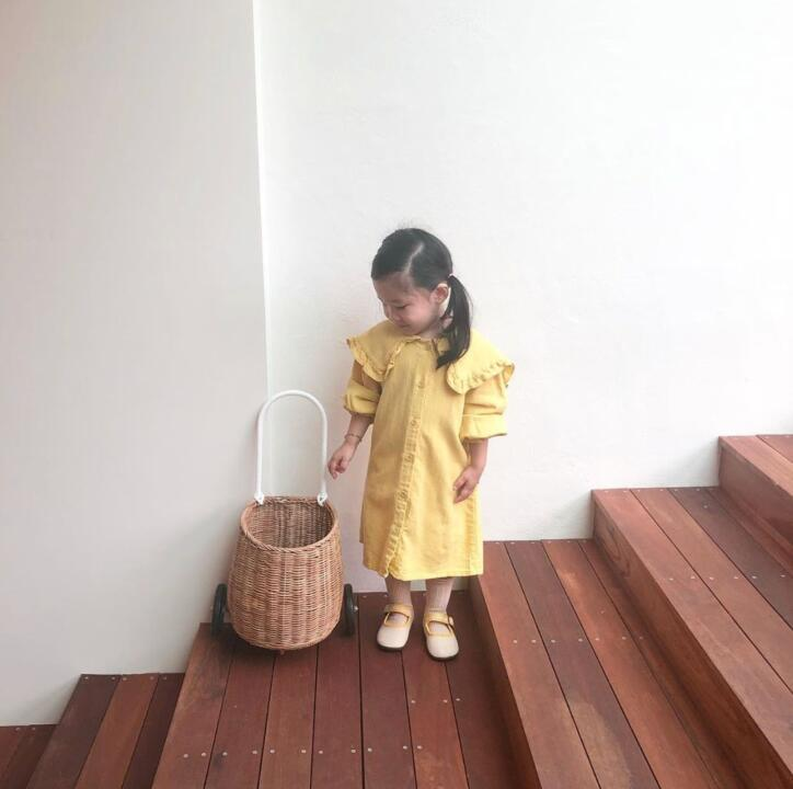 2020 Infant Girls Long Sleeve Solid Color Cotton Casual Long Dresses Spring Baby Kid Cotton Wind Navy Lace Collar Princess Dress