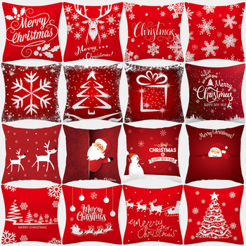 Christmas Cushion Cover 45x45 Pillowcase Polyester Merry Christmas Printed Sofa Cushions Decorative Pillow Covers Home Decor new cartoon dinosaur decorative pillow cushion covers pillowcase cushions for sofa polyester pillowcover cuscini decorativi