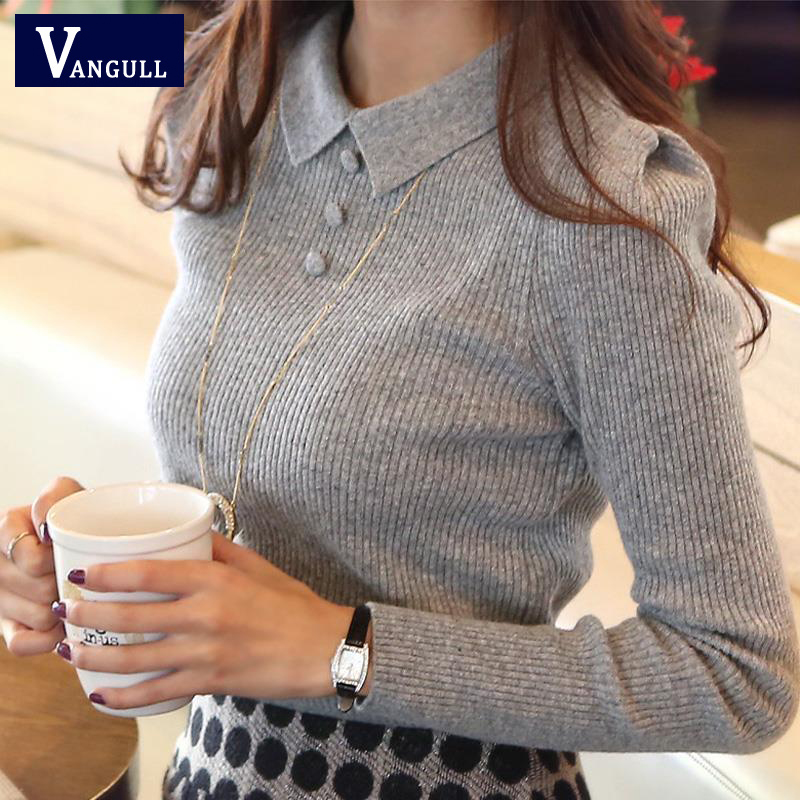 Vangull Work Office Pullover Slim Solid Buttons Knitted Turndown Collar Women Sweaters 2019 Spring Autumn Bottoming-shirt Female