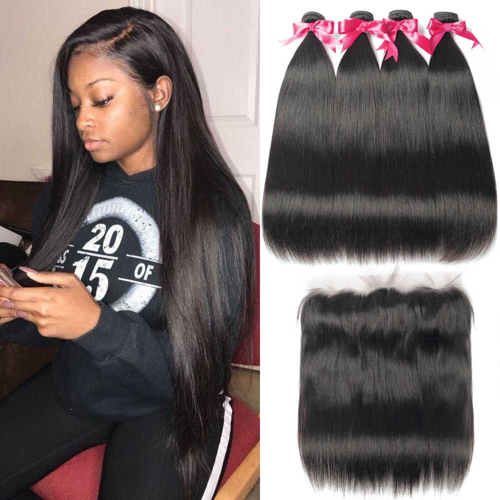 Straight Hair Bundles With Frontal 13*4 Lace Closure Brazilian Hair Weave Bundles 28 30 Inch Human Hair Bundles With Closure
