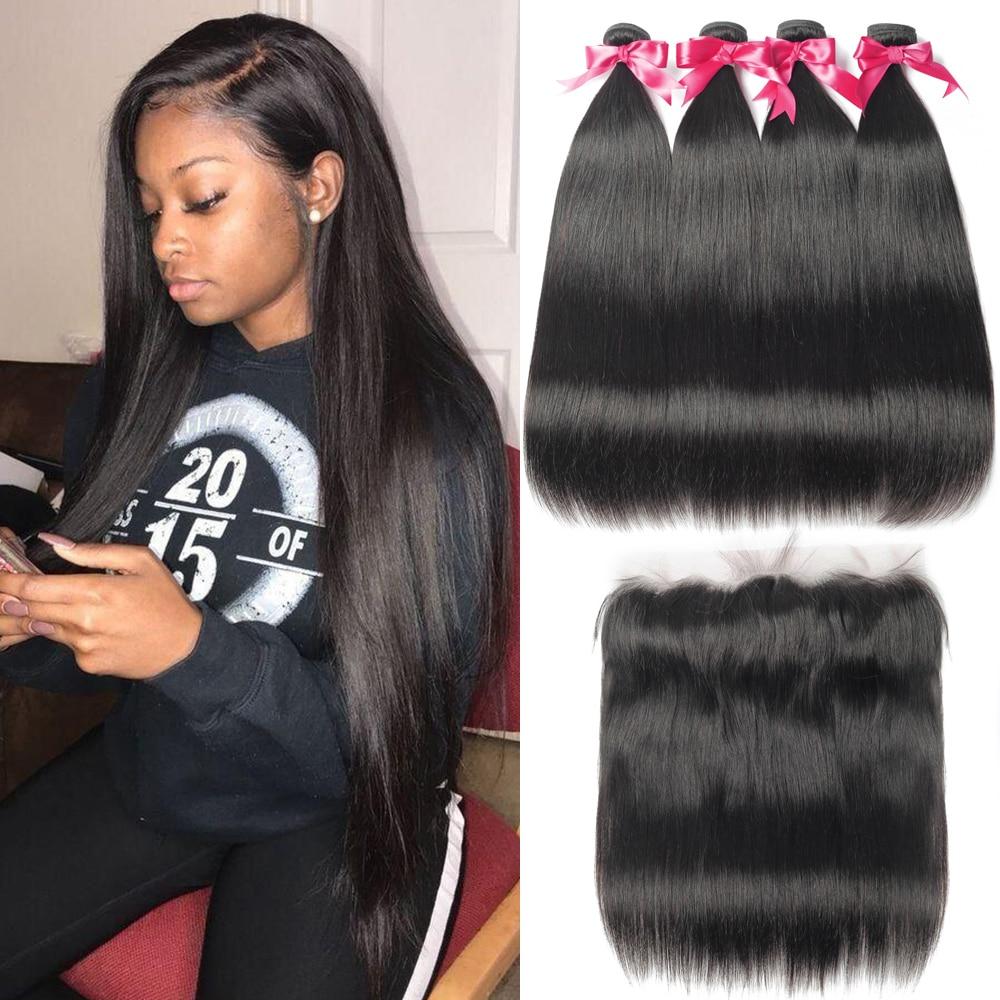 Прямые пряди волос с фронтальной кружевной застежкой, бразильские пряди волос, длинные 26 28 30 дюймов, пряди человеческих волос с закрытием
