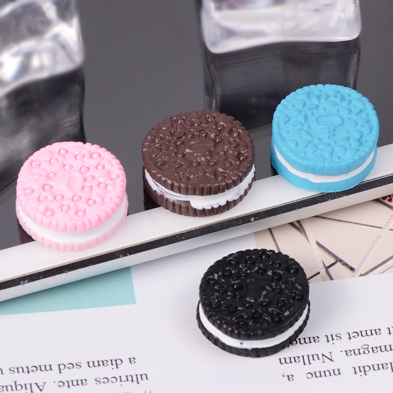 4Pcs Slime Charms Simulation Food Oreo Slime Accessories Beads Making Supplies With Drawstring Pouch For DIY Crafts Scrapbooki