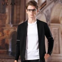 UCAK Brand Cardigan Men Sweaters 2020 New Spring Autumn Casual Fashion Trend Striped Zipper Streetwear Wool Sweatercoat U1045