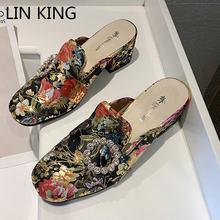 Lin king/женские тапочки на квадратном каблуке в стиле ретро