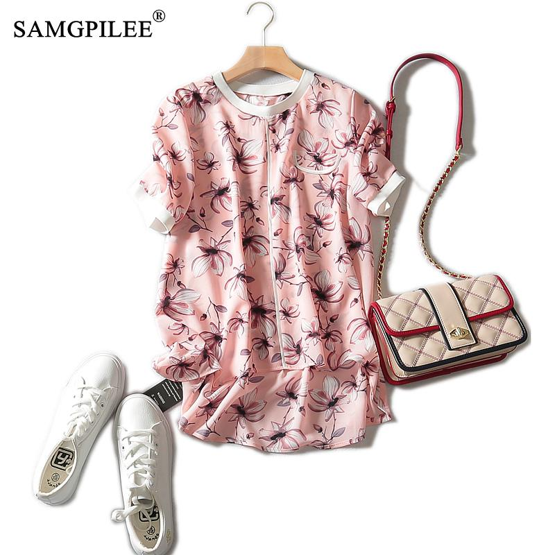 Tshirt Oversize Women Plus Size Womens 2020 Casual Chiffon Short Sleeve Print O-neck T-shirt Brand Women T-shirty Damskie 3XL