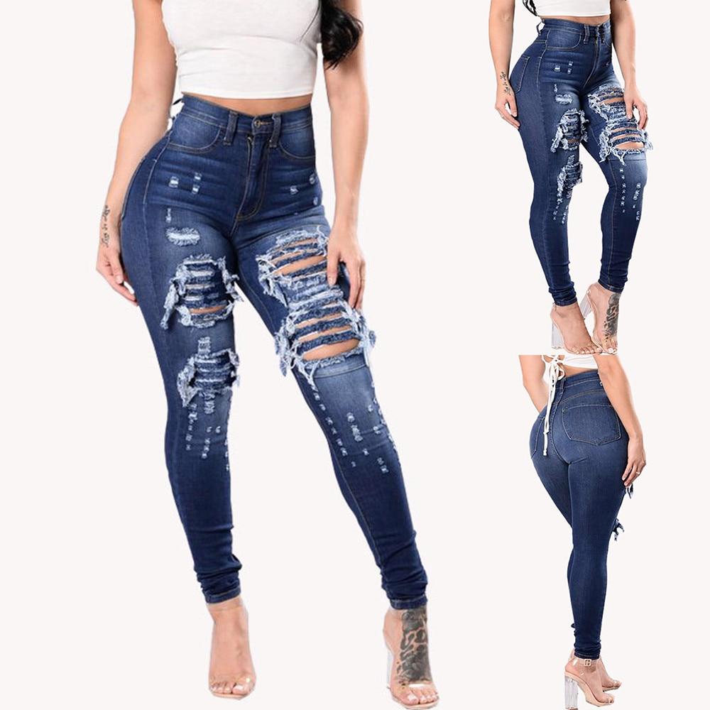 Women Jeans Plus Size Casual high waist summer Autumn Pant Slim Stretch Cotton Denim Trousers for woman Blue black