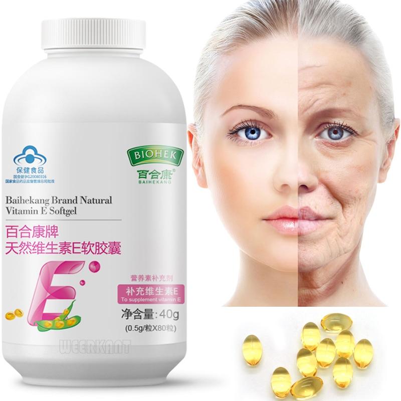 80Pcs Natural Vitamin E Oil Capsule Drink Antioxidant Anti Wrinkles For Face Whitening Skin Care Anti-Aging