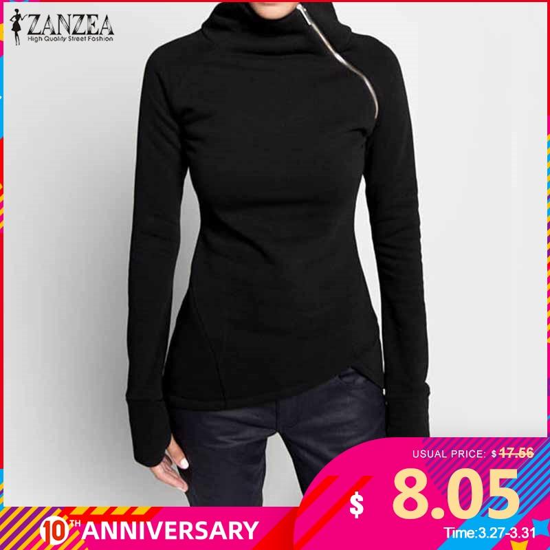 ZANZEA  Autumn Hoodies Sweatshirts 2020 Women Casual Solid Long Sleeve Pullover Turtleneck Slim Fit Zippers Sweatshirt Plus Size