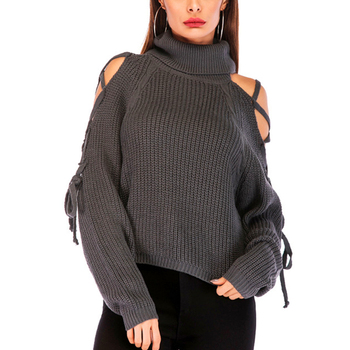 Sexy Lace Up Winter Knitted Sweater Pullover Women Off Shoulder Loose Turtleneck Sweater Jumper Autumn Long Sleeve Gray Sweater turtleneck long sweater autumn winter off shoulder knitted sweater dress women solid slim plus size pullovers knitting jumper