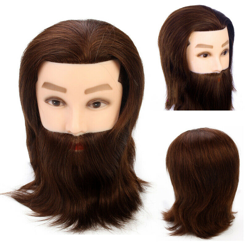 100% Real Human Hair Men Training Head With Hair Beard For Cutting Hairdressing Black Hair Male Mannequin Head Model with Holder