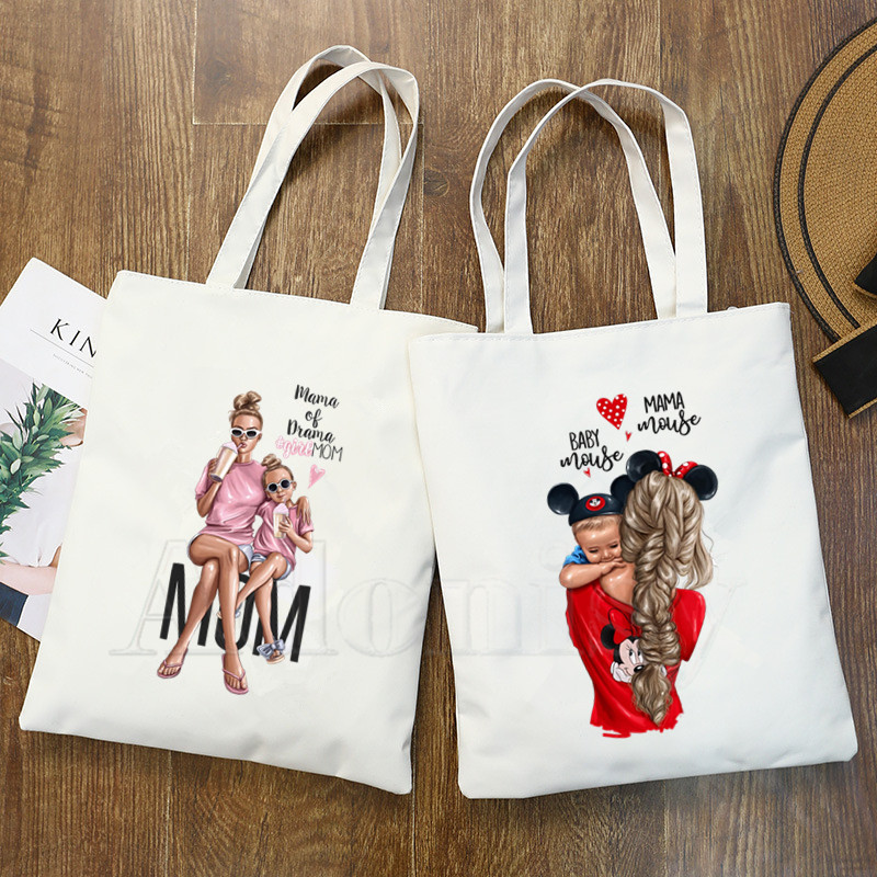 Matching Family Outfits Super Mom And Daughter Unisex Handbags Custom Canvas Tote Bag Print Daily Use Travel Casual Shopping Bag