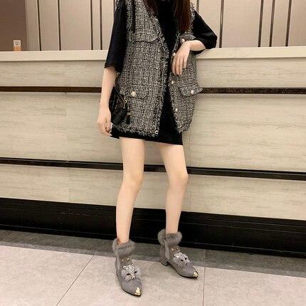 Shoes female winter plus velvet fox scalp shoes women's platform high heel pointed boots short boots rabbit fur snow boots 31