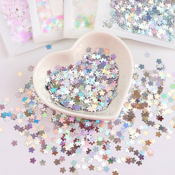 1Jar 10ml Nails Sparkly Paillette 5mm Cherry Blossoms Shape Polish Nail Flake Sequins 3D Sweet Pink Laser Glitter Nail Art Tips image