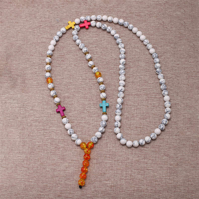 Mcllroy mens necklaces pendants 8mm natural tiger eye stone beads buddha cross necklace for women custom Mala jewelry 2019 gift