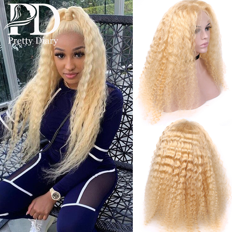 Brazilian 613 Blonde Curly Lace Front Human Hair Wigs Transparent Lace Frontal Wig Pre Plucked Water Deep Wave Remy Hair 150% image
