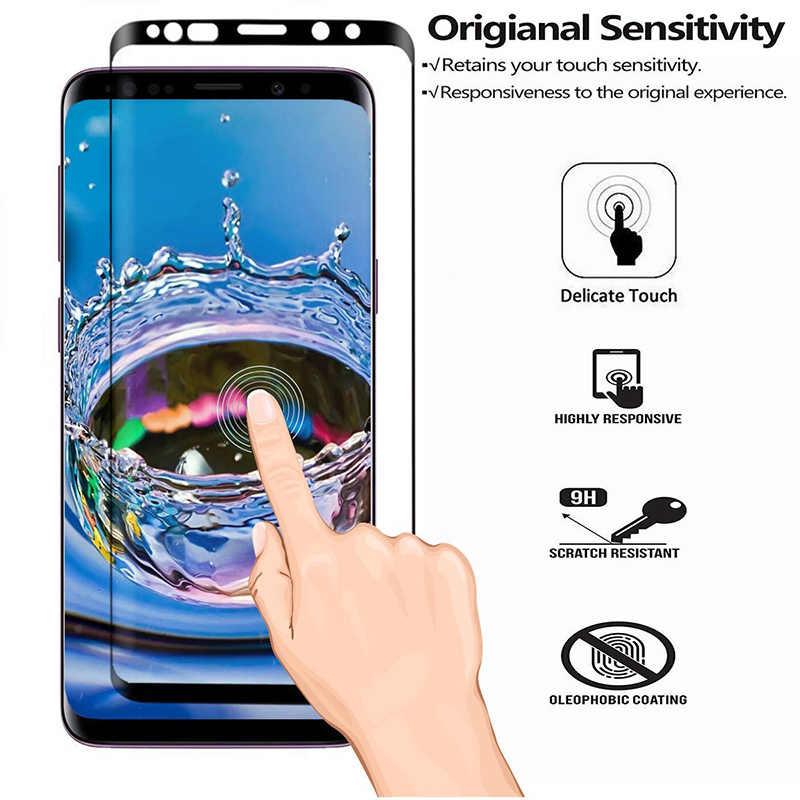 40D كامل منحني الزجاج المقسى لسامسونج غالاكسي S8 s9 plus نوت 8 9 واقي للشاشة لسامسونج A8 A6 S7 حافة طبقة رقيقة واقية