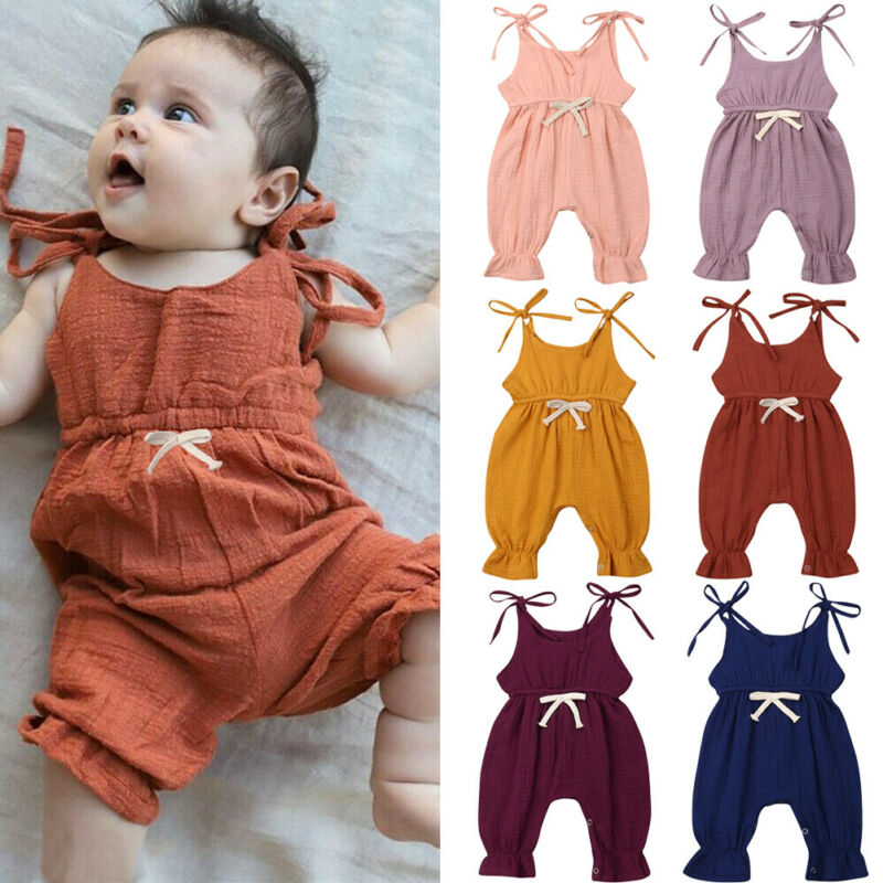 Romper 2019 Infant Baby Girl Newborn kids Solid strappy Romper Jumpsuit overall pants cotton Outfits Clothes Harem Pants 6 color