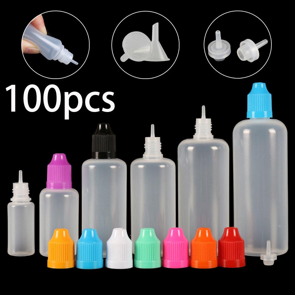 100pcs X 3ml-120ml Dropper Bottles Plasitc LDPE Empty Squeezable Eye E Liquid Juice Container CRC Cap Long Dropper Tip + Funnels