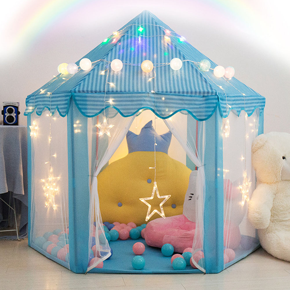 Princess Castle Folding Tipi Children Tent Play House Teepee Portable Toy Tents For Kids Baby Girl Outdoor Indoor Zipper Tent