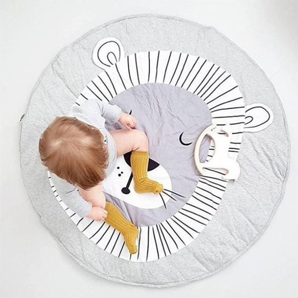INS Kids Crawling Carpet Baby Play Mat Animal Round Floor Rugs Baby Bedding Blanket Cotton Game Mat For Children Room Decor 90CM