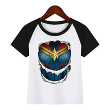 Captain Marvel Children New Cartoon T-shirt Boy Girl Funny Tops Hipster Summer Tees Tshirts Outfit Kids Fashion Clothing T Shirt harajuku fashion graphic tees women colored cactus t shirt slim fit cute girl s tshirts tees