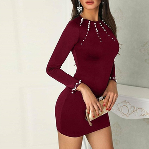 2020 Women's Long Sleeve Black Blue Solid O-Neck Bodycon Sexy Slim Dresses for Autumn Large Size