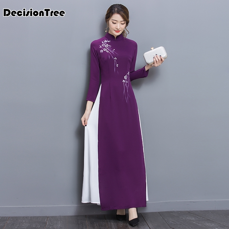 2019 Folk Style Vietnam Robes Chiffon Aodai Graceful Dress Stand Collar Elegant Traditional Clothing Floral Aodai