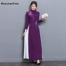 2017 summer folk style vietnam robes chiffon aodai graceful dress stand collar elegant improved long