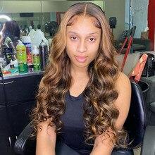 Perruque Body Wave Lace Front Wig brésilienne naturelle, balayage, blond miel ombré, 13x6x1, 30 pouces, pour femmes africaines