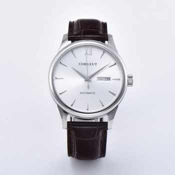 Mannen Horloges kalender saffier glas lederen Casual Sport Mechanische Automatische horloge