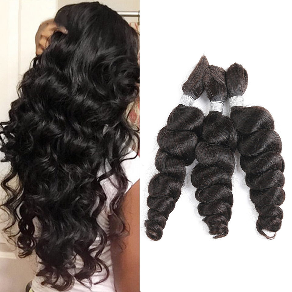 Black Pearl Pre-Colored Remy Loose Wave Human Hair Bundles Brazilian Hair Bulk 1 Bundle Braiding Hair Extension Braids Hair Deal
