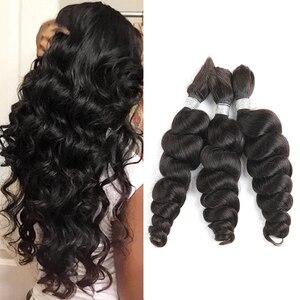 Image 1 - Black Pearl Pre Colored Remy Loose Wave Human Hair Bundles Brazilian Hair Bulk 1 Bundle Braiding Hair Extension Braids Hair Deal