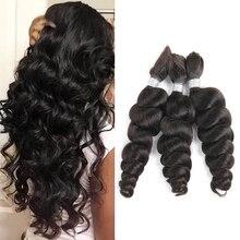 Пряди натуральных волос Remy, предварительно окрашенные черные жемчужные свободные волнистые бразильские волосы, 1 комплект, наращивание волос, косички