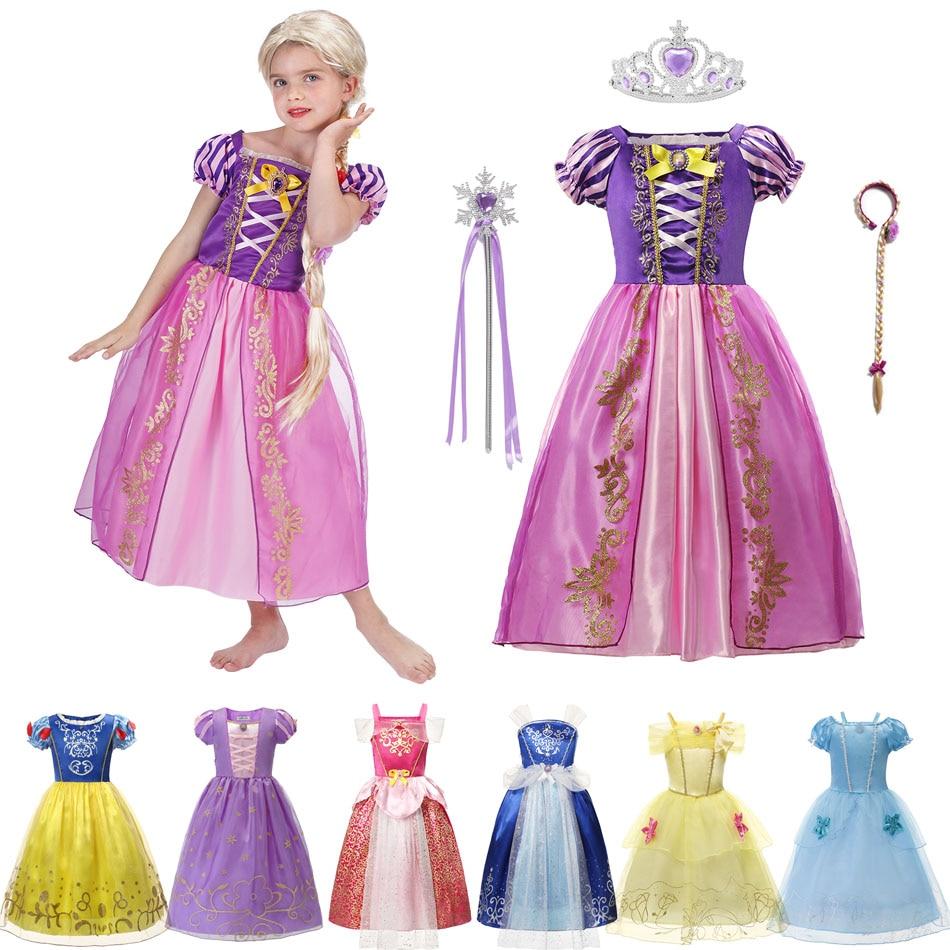 С милым принтом Рапунцель для девочек; Платье принцессы для костюмированной вечеринки платье Вечерние подарок прелестной Золушки, принцес...