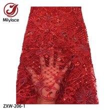 손으로 페르시 레이스와 고품질 아프리카의 얇은 명주 그물 장식 프랑스 나이지리아 레이스 직물 수 놓은 붉은 레이스 패브릭 ZXW 206