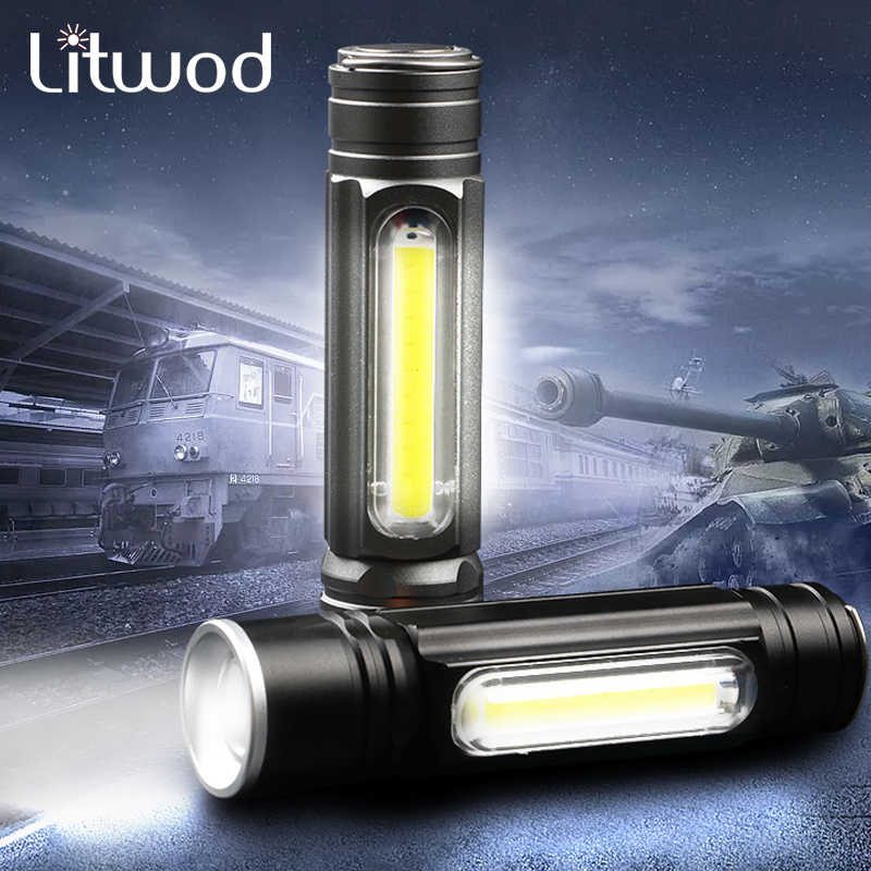 Mini T6 LED Flashlight USB Rechargeable Powerful 3-Modes Zoomable Torch JJ