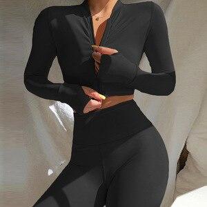 Gxqil manga longa com zíper feminino conjunto de esportes 2021 roupas de treino para as mulheres roupa de yoga ajuste seco terno fitness femme esporte outfit