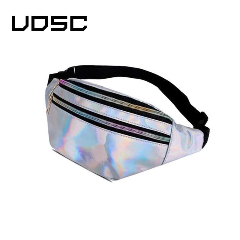 Galleria fotografica UOSC Holographic Fanny Pack Women Silver Laser Bum Bag Travel Shiny Waist Bags Fashion Girls Pink Leather Hologram Hip Bag
