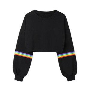 Women Cropped Tops O Neck Long Sleeve Sweatshirt Crop Top Hoodies Rainbow Striped Print Short Sweatshirt Harajuku Fashion Hoodie