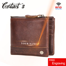 Contact's Free Engraving 100% Cowhide Leather Men Wallets Coin Purse Small Mini Card Holder RFID Money Bag for Man Carteira Zip(China)