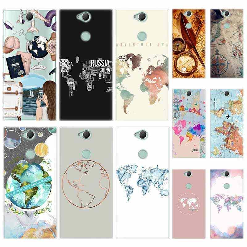 Krzemu TPU Case dla Sony Xperia X XA XA1 XA2 XA3 XZ XZ1 XZ2 XZ3 XZ4 L1 L2 L3 Plus Compeact mapa świata plany podróży
