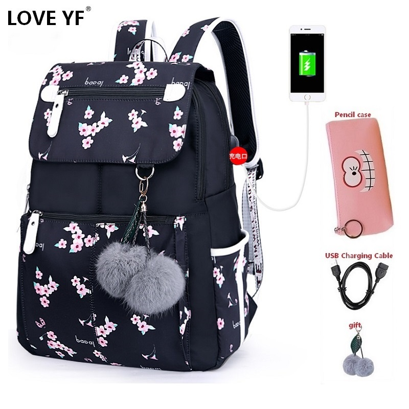 Female Student School Bags Girl Waterproof Backpacks Laptop Student School Bag Backpack Travel For Woman Sac A Dos Fille Cole