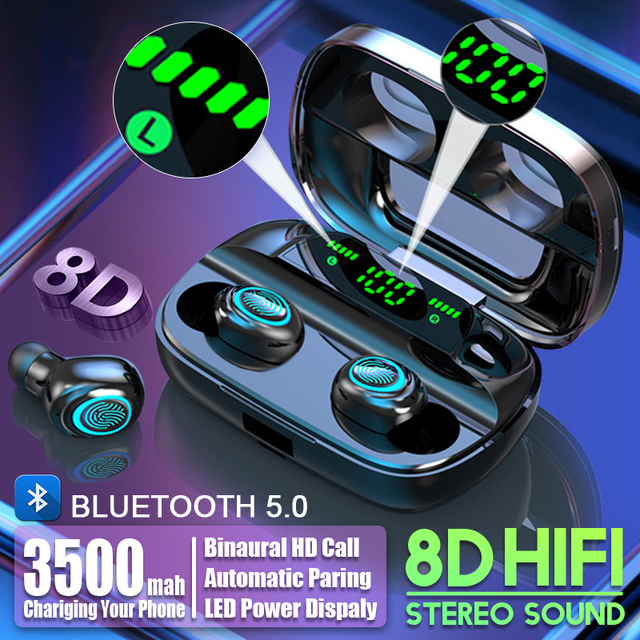 3500mAh LED Bluetooth Wireless Earphones Headphones Earbuds TWS Touch Control Sport Headset Noise Cancel Earphone Headphone 5