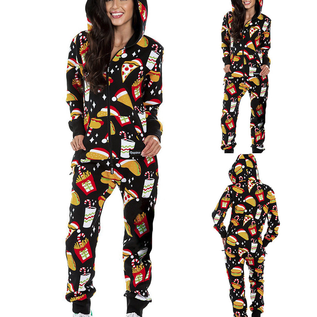 New Womens Ladies Winter Printed Jumpsuit One Piece Hooded Front Zip Up Playsuit