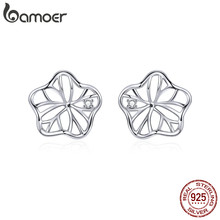 bamoer 925 Sterling Silver Openwork Lotus Leaf Stud Earrings for Women Hypoallergenic Jewelry with Silicone Earplugs BSE329(China)