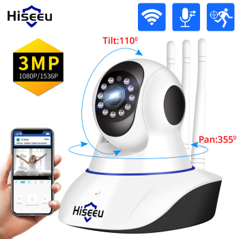 Hiseeu 1080P 3MP IP Camera WIFI Wireless Smart Home Security Camera Surveillance 2-Way Audio CCTV Pet Camera Baby Monitor ICsee 1